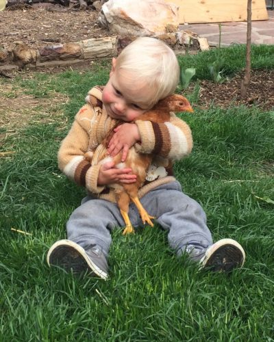 Kid hugging a baby chick